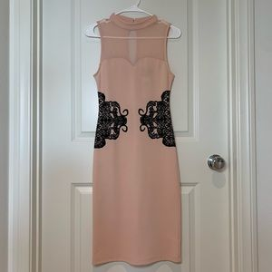 Pink dress with mesh and black lace print